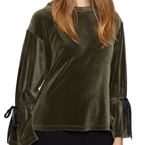 Sanctuary Tops - Sanctuary 'Tierney' tie sleeve velour top